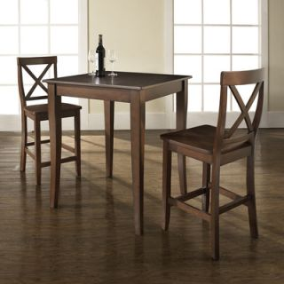 Crosley Three Piece Pub Dining Set with Cabriole Leg Table and X Back Barstools in Vintage Mahogany