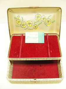Vintage Farrington Gifts Jewelry Box Chest Texol Jewel Case with Key