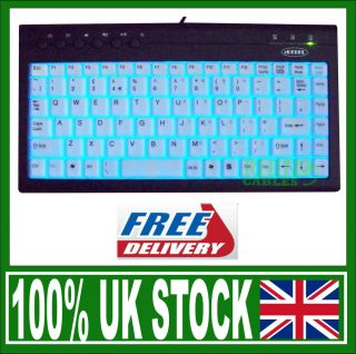 Erebel Multimedia Mini Illuminated USB Keyboard Blue Light Up 88 Key Lite Up New