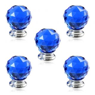 5pcs 30mm Blue Crystal Glass Door Knob Handle Screw for Drawer Cabinet Door