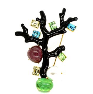 Kenneth Jay Lane KJL Black Enamel Crystal Coral Branch Brooch