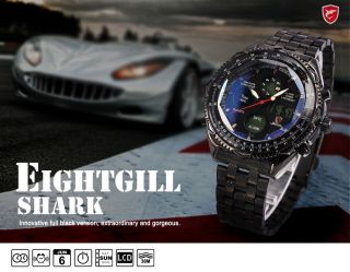 Shark LCD Date Day Stopwatch Men Stainless Steel Fabulous Sport Quartz Watch