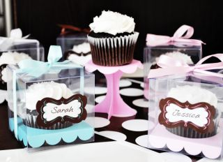 24 Personalized Cupcake Holder Favor Boxes Birthday Wedding Bridal Party