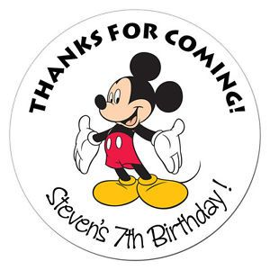 12 Mickey Mouse Disney Personalized Stickers Birthday Label