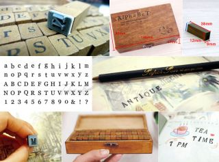 Rubber Stamp Alphabet Number Symbol Wooden Box Set Print Style Wood Letter 70pcs