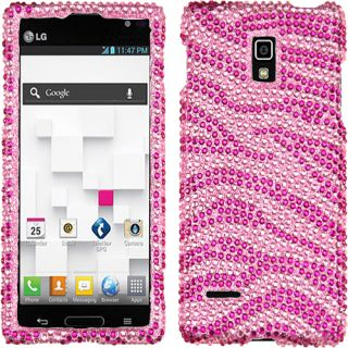 Baby Pink Zebra Bling Rhinestone Case Cover for LG Optimus L9 P769 P760