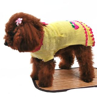 Cute Pet Puppy Winter Warm Bow Clothes Dog Sweater Costume Strawberry Knit Coat