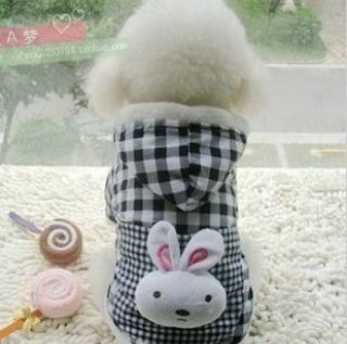 Pet Puppy Winter Warm Plaid Dog Hoodie Costume Size s XXL Rabbit Coat Clothes