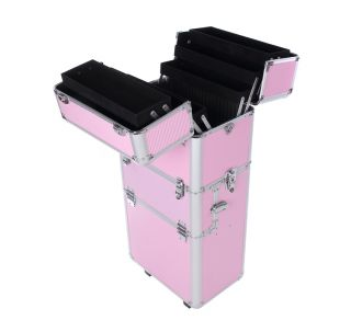 3 in 1 Pro Aluminum Rolling Makeup Case Salon Cosmetic Trolley Train Case