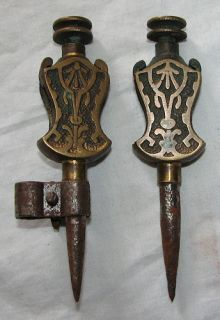 Small Decorative Brass Trammel Point Pair Tool Antique Vtg Old Complete Stanley