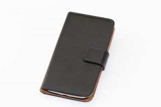 Genuine Real Leather Flip Case Cover Wallet Card Holder for Galaxy S4 I9500 BK