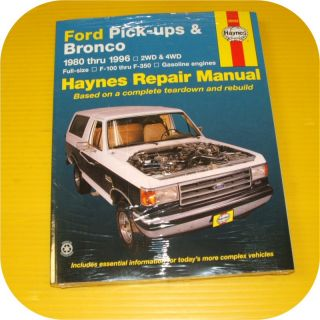 Repair Manual Book Ford Pickup Truck Bronco F150 89 96