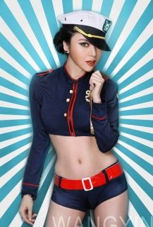 Hot Sexy Marine Navy Girl Costume Top Boyshorts Hat YSF8608