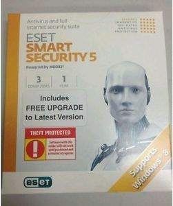 Eset Antivirus Smart Security 5 6 for 3 Computers Brand New Factory SEALED