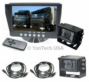 "Two Camera 7"" Rear View Backup System Truck Trailer RV Two 120° CCD Cameras"