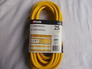 Woods 25' High Visibility Extension Cord Yellow