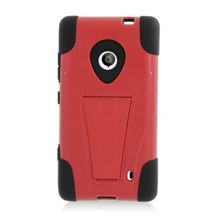 For T Mobile Nokia Lumia 521 Windows Phone 8 Hybrid Case Black Red with Y Stand