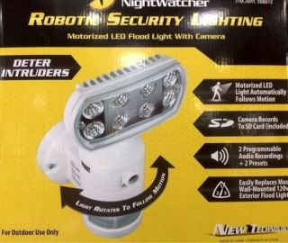 Night Watcher Robotic Security Camera LED Motion Light Outdoor Home Lighting