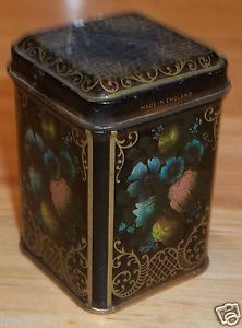 Vintage Tiny Tin Tea Container England Multicolored Floral Flower Bouquet Black