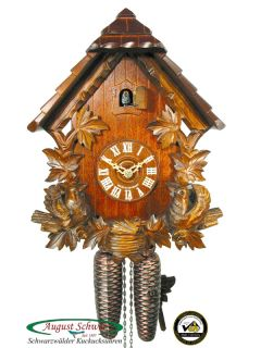 Black Forest Cuckoo Clock 8 Day Chalet Bird Carving New