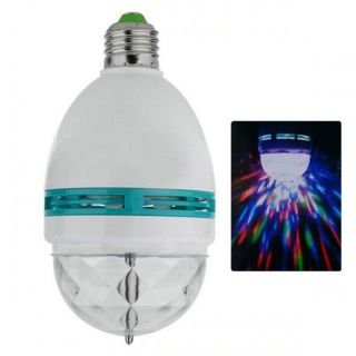 Colorful 3W Compact LED E27 RGB Colorful Spot Rotating Flash Stage Bulb Lamp