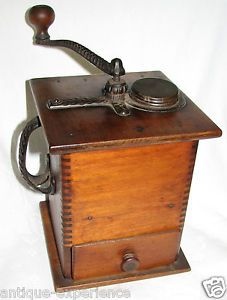 Antique Chillicothe Oh Tall Wood Case Coffee Grinder w Orig Paper Insructions