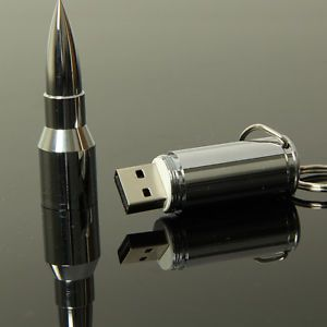 Metal Bullet 8GB USB Flash Drive Pen Thumb Disk Memory Stick Silver