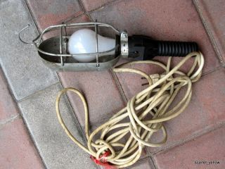 Vtg Metal Cage Drop Task Trouble Light Lamp Extension Cord Industrial 125V