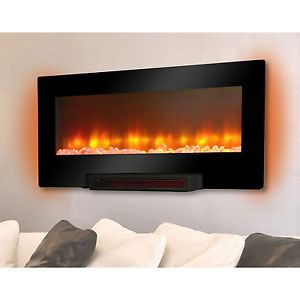 New Electric LED Flat Panel Infrared Wall Mount Fireplace Heater