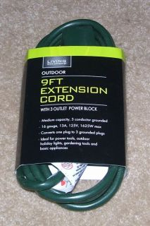 Living Solutions 9 Foot Outdoor Extension Cord w 3 Outlet PowerBlock