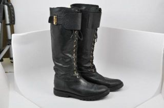 Tory Burch Black Leather Boots Lace Up Front Zipper Back Gold Hardware Size 8