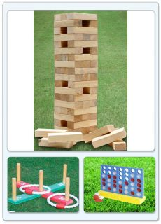 New Garden Lawn BBQ Party Games Giant Jenga Tower Connect 4 in A Row Quoits