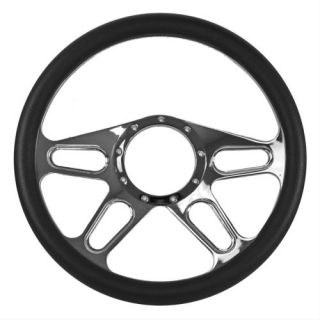 Summit Racing Steering Wheel Slot Billet Aluminum Black Grip Chrome Spokes Each