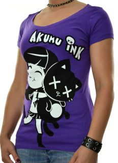 Akumu Ink Tattoo Horror Emo Goth Punk Little Girl Hugging Dead Cat T Shirt