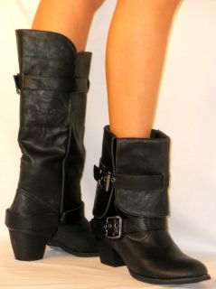 Tall Buckle Riding Boots Motorcycle Cuff Fold Medium Stacked Heel