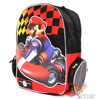 "Nintendo Super Mario Kart Wii School Backpack 16"" Large Bag Big Mario"