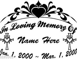 "In Loving Memory of Cross 11"" Large Decal Window Memorial Car Sticker Bumper"