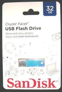 32GB Cruzer Facet Micro USB Flash Pen Key Drive Memory Stick BLUE NEW