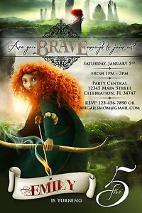 BRAVE MERIDA#1 PRINCESS CUSTOM PRINTABLE BIRTHDAY PARTY INVITATION