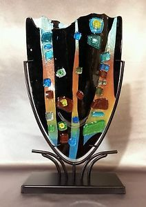 Details about Amazing Multicolored Mosaic Fused Art Glass Sculpture