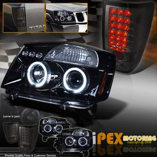 "04 07 Nissan Titan ""Shiny Black"" Halo Projector Headlights LED Tail Light Lamp"