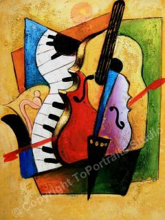 Musical Instruments Original Abstract Art Oil Painitng