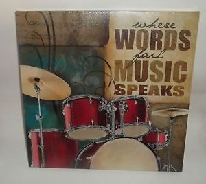 Wall Plaque Sign Wall Art Music Musical Drum Instrument Words Fail Music Speak