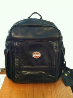Harley Davidson Black Leather Backpack / Laptop Case