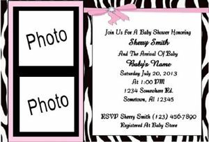 Pink Zebra Baby Shower Invitations