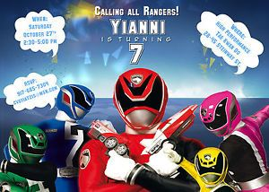 Power Rangers Printable Birthday Party Invitation Cards