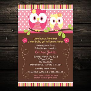 Adorable Forest Owls Printable Baby Shower or Birthday Invitations Any Color