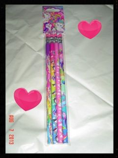 Lisa Frank 4 Pack Pencils Dog Cat Unicorn Dolphin School Supplies Office College