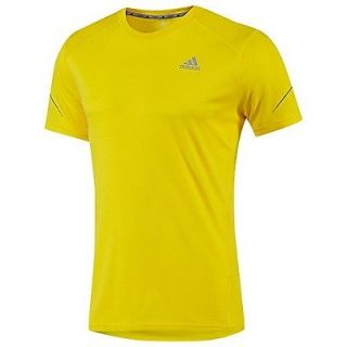 Adidas Mens Sequencials Run Athletic T Shirt Yellow ClimaLite Sport Training