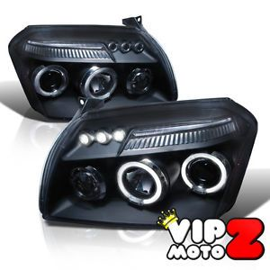 2005 2007 Dodge Magnum Halo LED Projector Headlight Lamp w Light Strip Black